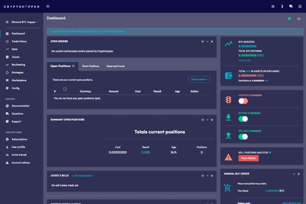 cryptohopper dashboard