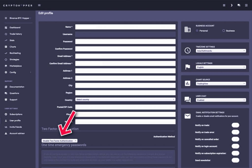 cryptohopper profile details