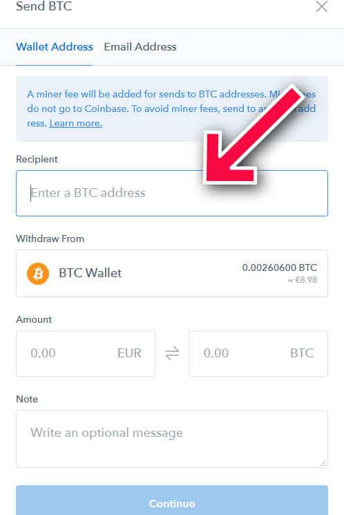 send bitcoin from coinbase to binance