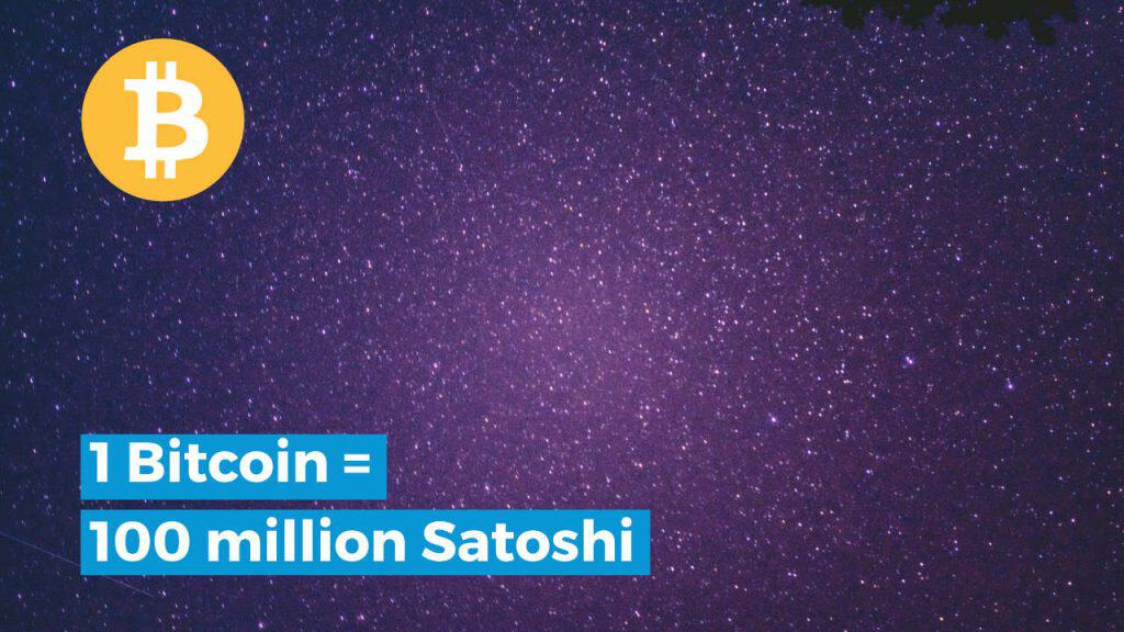 1 bitcoin is 100 million satoshi